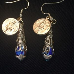 Jewelry - Murano Glass Beads And Coin Earrings
